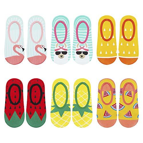 soxo Damen Unsichtbare Bunte Sneaker Socken | Größe 35-40 | 6er Pack | Baumwolle Kurze Füßlinge mit lustigen Motiven | niedriger Schnitt | Ideal für flache Schuhe | tolle Ergänzung für Ihre Garderobe