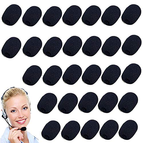 Cubiertas de Micrófono de Espuma,30 Piezas Cubierta De Espuma Cubiertas Micrófono De Espuma Negro,para Aula,Sala de Conferencias,Actuación Escénica (0.8cm)