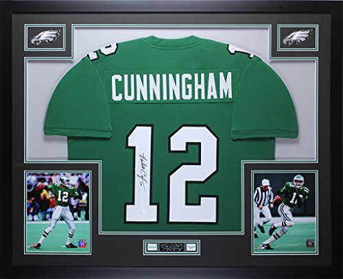 Randall Cunningham Autographed Eagles Jersey - Beautifully Matted and Framed - Hand Signed By Randall Cunningham and Certified Authentic by JSA COA - Includes Certificate of Authenticity