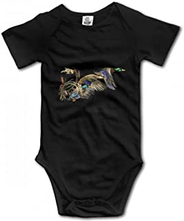 Wild Flying Ducks Mallard Hunting Unisex Baby Bodysuit Cotton Short Seleeve Romper Jumpsuits