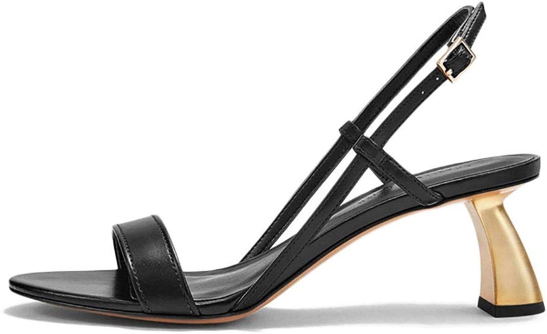 Women's Sandals, Metal Shaped Heel Open Toe Pumps Black 5cm (color   Black, Size   35)