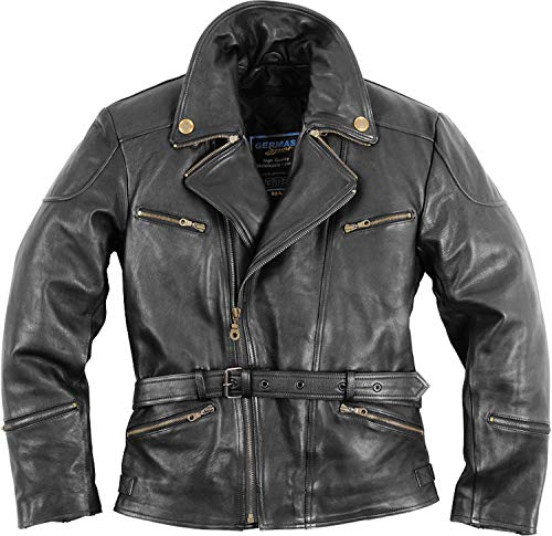 SunnyTrade Germas Leder Jacke Classic Gensler - Tolle Lederjacke aus hochwertigem Leder. Biker-Motorradjacke, Größe:48