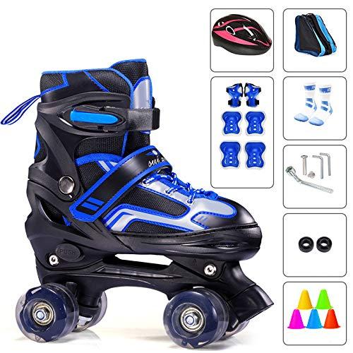 Hossm Jungen Und Mädchen Anfänger Rollschuhe Doppelrollschuhe Outdoor/Indoor Rollschuhe Für Kinder Und Erwachsene Einstellbare Größe BlueC-S(27-32)