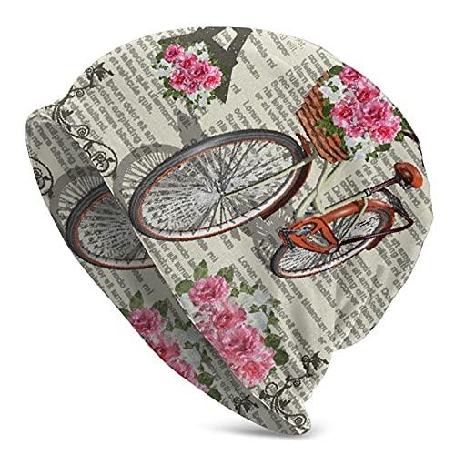 GXLLLW Gorro de bicicleta vintage Paris Torre Eiffel para hombres y mujeres Creatividad Knit Hat Mantener caliente Cap