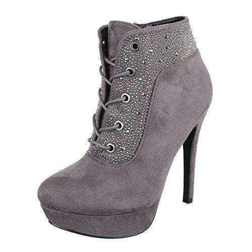 Ital-Design High Heel Stiefeletten Damen-Schuhe Schlupfstiefel Pfennig-/Stilettoabsatz High Heels...
