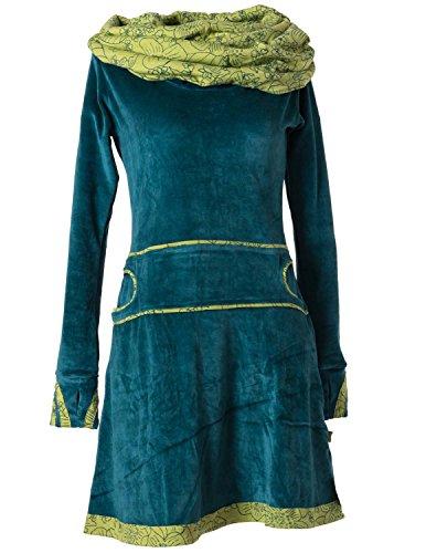 Vishes - Alternative Bekleidung – Samtkleid mit Kapuzenkragen türkis 34/36