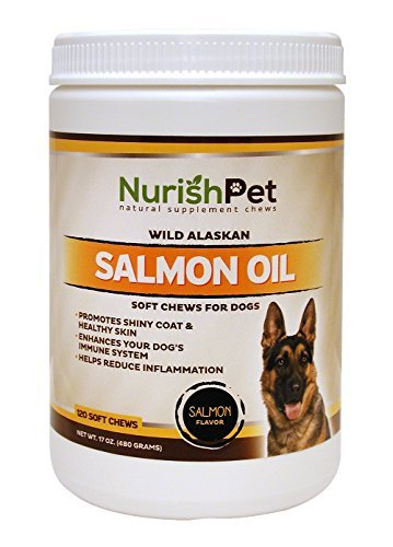 NurishPet – Wild Alaskan Salmon Oil for Dogs – All Natural Dog Treats and Thyroid Immunity Supplements for Improved Metabolism and Healthy Shiny Coat (120 Soft Dog Treats)