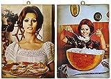 KUSTOM ART Juego de 2 cuadros de estilo vintage de los famosos «Sofia Loren» en la cocina, impresión sobre madera, para decoración de restaurantes, pizzerías, bares, hoteles, etc.
