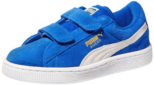 PUMA boys Suede 2-Strap Sneaker , Snorkel Blue/White, 4 M US Toddler