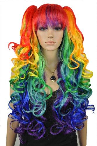 Qiyun Girl Longue Ondule Boucle Lolita Colorful Multi-ColoRouge Costume Cosplay Perruque