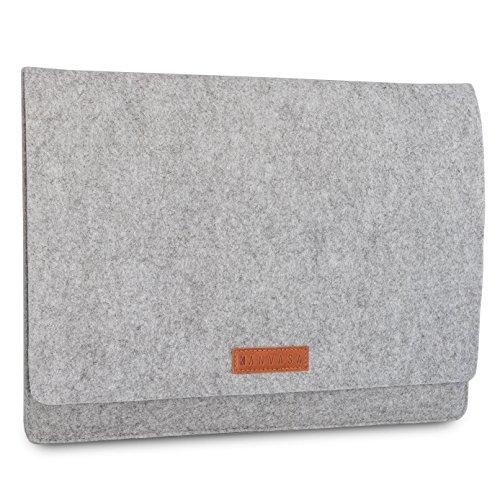 KANVASA Filz Laptoptasche 15/15,6 Zoll Grau - Premium Laptop Sleeve Laptophülle mit braunem Leder - Tasche für Notebook Ultrabook von ASUS Acer Lenovo HP Dell UVM. - Edle Leder Filztasche