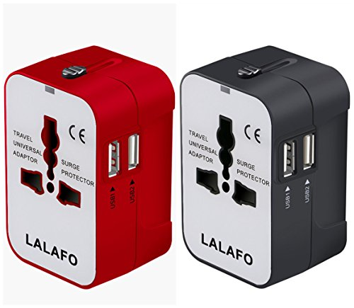LALAFO All in One International Universal Travel Adapter,Dual USB Charging Ports Converter for USA EU UK AUS European Compatible with Mobile Phone,Power Bank,Tablet,Laptop and Earphone.