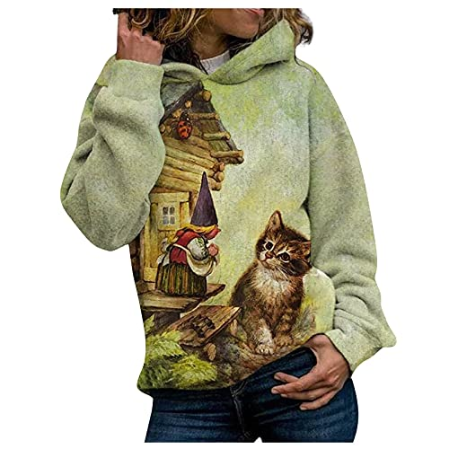Cute Graphic Print Hoodies for Women Long Sleeve Fall and Winter Warm Comfy Soft Loose Party Casual Fashion Hooded Sweatshirt(Green,X-Large)