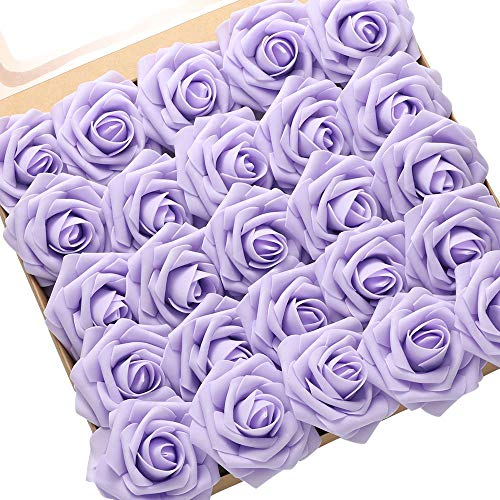 DerBlue 60pcs Artificial Roses Flowers Real Looking Fake Roses Artificial Foam Roses Decoration DIY for Wedding Bouquets Centerpieces,Arrangements Party Baby Shower Home Decorations (Lilac)