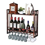 ZRABCD Rosques de Vino Restaurante Botella de Vino Rack Metal Metal Metal Poder Botella de Alenamiento Colgante Copa de Vino/Talleres Estantes para Bar Y Cocina,Bronce,120Cm