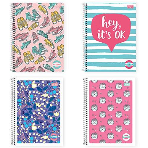 Caderno de 10 Matérias Capa Dura, Pacote com 4 Cadernos, 160 Folhas, Cores Sortidas, Tilibra, Modelo 15.981