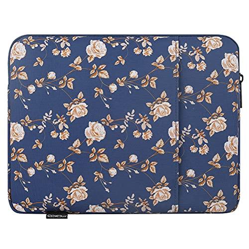 MoKo Funda Protectora Compatible con iPad 8ª 10.2/9.7', iPad Pro 11', iPad Air 4ª 10.9/3 10.5', Surface Go 2 10.5, Bolsa Multifuncional de Poliéster con Cremallera Doble, Azul Flores