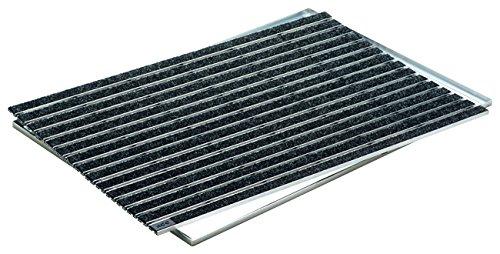 ACO Self Indoor Schuhabstreifer-Matte 75x50 cm mit Rips-Streifen in Anthrazit INKLUSIVE Winkelrahmen für innen