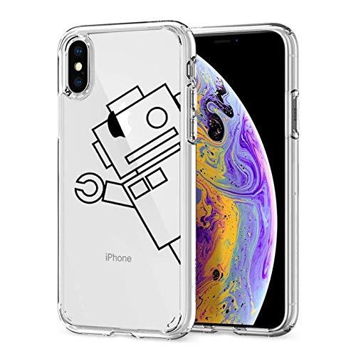 Oihxse Compatibile per Cover Trasparente iphone X/XS,Custodia iPhone XS/X Silicone Case Ultra Sottile Simpatico Disegno Morbida Protezione a 360 Gradi Slim Case Antiurto Anti-Graffio (Robot)