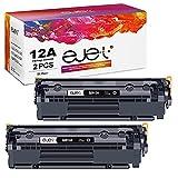 ejet Compatible Reemplazo para HP Q2612A 12A Cartuchos de tóner para HP Laserjet 1010 1012 1015 1018 1020 1022 1022n 1022nw 3015 3020 3030 3050 3052 3055 M1005 M1319 M1319f (2 Negro)