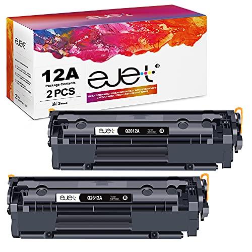 ejet Compatibili Cartucce di Toner Sostituzione per HP 12A Q2612A per Laserjet 1010 1012 1015 1018 1020 1022 1022n 1022nw 3015 3020 3030 3050 3052 3055 M1005 M1319 M1319f (Nero, 2-Pack)