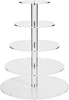 Jusalpha 5 Tier Acrylic Round Wedding Cake Stand/Cupcake Stand Tower/Dessert Stand/Pastry Serving Platter/Tiered Food Display Stand (5R-Small)