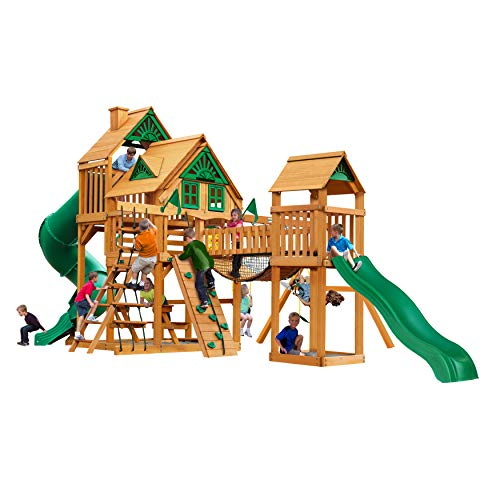 Gorilla Playsets 01-1037-AP Treasure Trove I Treehouse Wood Swing Set with Tube Slide, Built-in Sandbox Area, and Clatter Bridge