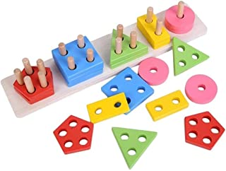 Wooden Educational Toys, Wooden Shape Color Sorting Preschool Stacking Blocks Toddler Puzzles Toys Birthday Gifts for Boys...