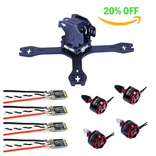 HOBBYMATE X130 FPV Racing Drone Mini Quadcopter Combo - Carbon Frame W/ 1306 Motor, BLHeli_S 20A ESC, 3030 Tri-Blades, Battery Strap