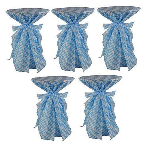 Sensalux, 5 Stehtischüberwürfe/die preisgünstige Alternative zur Husse(Nicht genäht) abwischbar - Wiesn, Oktoberfest, blau weiß für Tischdurchmesser 60-70 cm