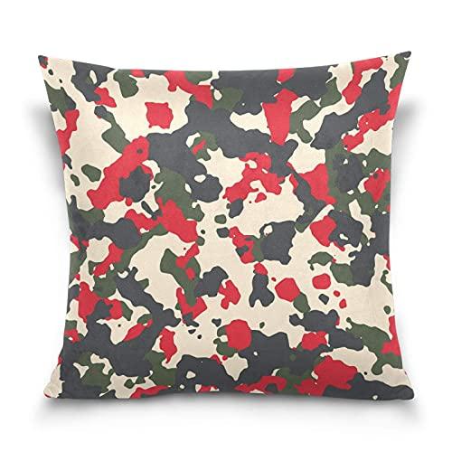Funda de cojín Camuflaje de moda militar beige rojo verde y negro Funda de Almohada con Cremallera para Decoración del Hogar Sofá Coche Oficina 45 x 45 cm