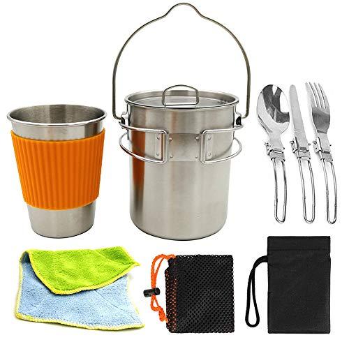 WYYHAA Multi-PCS Kit De Casseroles Camping Camping Batterie De Cuisine Set De Mess Empilable Portable Casserole Poêle Cuire pour Randonnée en Plein Air