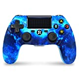 Mando inalámbrico para PS4, Gamepad Double Shock de Alto Rendimiento Compatible con Playstation 4 / Pro/Slim/PC con Cable de Carga - Blue