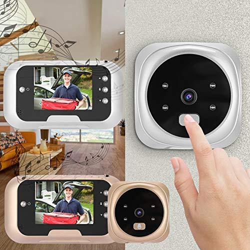YAOHM 10-240 V video, draadloos, voor deurspion, nachtzicht, elektronisch, 10-240 V, goudkleurig/zilverkleurig
