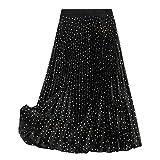 Shobdw Lunares Metalizados Falda De Plisado De Elegante Noche Mujer Skirt Cintura Elástica Casual Fiesta Bohemia Falda Larga Vestido Casual Picnic De Todo Fósforo(Negro,L)