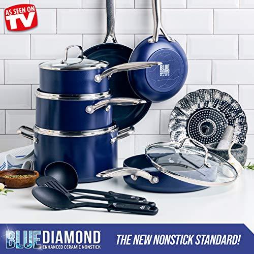 Blue Diamond Cookware Diamond-Infused Ceramic Nonstick, Cookware Pots and Pans Set, 14 Piece