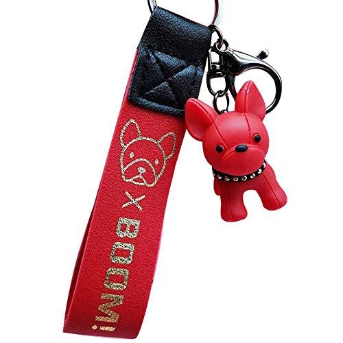 WeiHaoJian Würdig Mode Französisch Punk Bulldogge Schlüsselanhänger Pu-Leder Hund Schlüsselanhänger für Damen Tasche Charm Schmuckdose Herren Auto Schlüsselanhänger Schlüsselanhänger - Rot