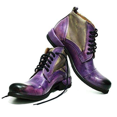 PeppeShoes Modello Parione - EU 43 - US 10 - UK 9-28 cm - Handgemachtes Italienisch Bunte Herrenschuhe Lederschuhe Herren Violett Stiefel Stiefeletten - Rindsleder Handgemalte Leder - Schnüren
