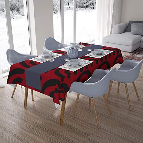 Bonamaison Decoración de Cocina, Poliéster, Antimoho, Secado rápido, Impermeable, Mantel, Negro Rojo, 140 x 200 Cm - Diseñado y Fabricado en Turquía