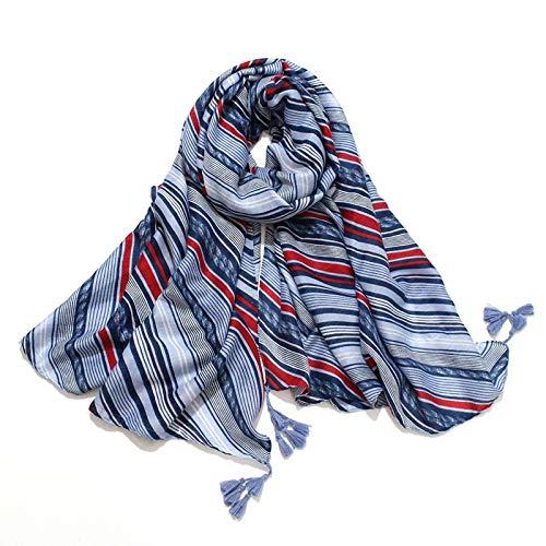 YIJIAN-SCARVES Temperamento, Estilo y abundante El algodón Rayado Azul y la Bufanda de Lino Mujer Viajes Decorativo Bufanda de Seda Grande de la Bufanda Caliente Suave Chal para señora Girl Mujer: Amazon.es: