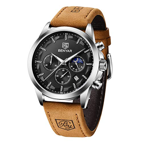 BENYAR Cronógrafo de Cuero de Moda Relojes Impermeables de Acero Inoxidable Mapa Diseño Deportivo Reloj de Pulsera Deportivo Casual para Hombre
