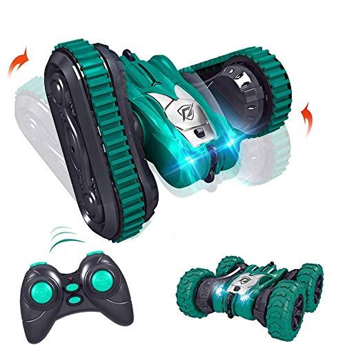 WGFGXQ Coche de Acrobacias de Doble Cara con Control Remoto 2 en 1, Juguete de Tanque de Llantas de Pista Enrollable, para niños con Luces, Azul