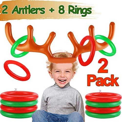 MeterMall Fun Antler Ring Toss Game Inflatable Reindeer Antler Ring Toss Game for Christmas Party Random Color Inflatable antler set color random