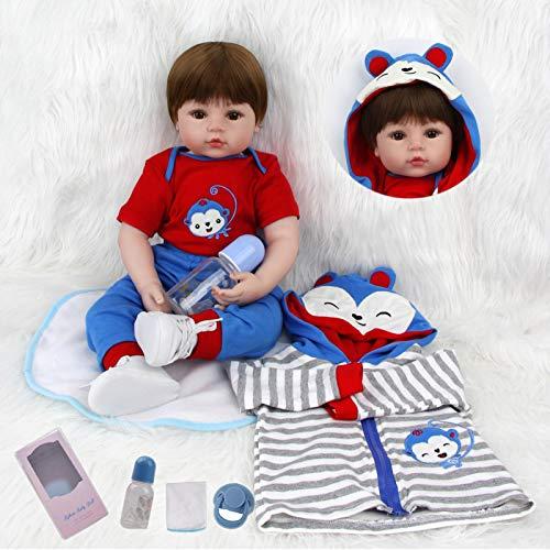 VUGO 18 Pulgadas 45cm Muñeca Reborn Bebé Suave Vinilo de Silicona Bebes Recien Nacidos Muñecos Reales Magnética Boca Reborn Niño Regalo Juguete para niños de 3 años