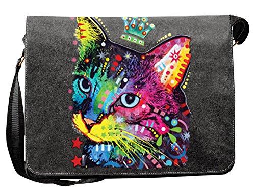 Umhängetasche/Tasche-Vintagelook mit Cat-Neon-Druck: Thinking Cat Crowned für Katzenfreunde