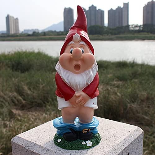 Yongqin Outdoor-GNOME-Dekoration Unhöflicher Lustiger Gnom Mit Heruntergelassener Hose Und Schreiendem Ausdruck, Gartenstatue Fee Garten Zwerg Figur Zubehör Gartenornamente Outdoor-GNOME-SKU