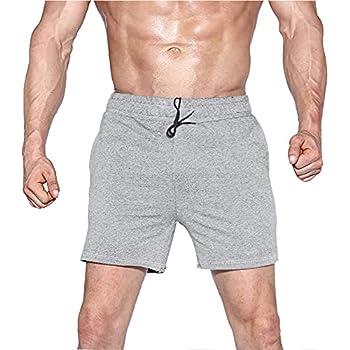 Men s Workout Bodybuilding Short Shorts Gym Active Training Running Elastic Cotton Shorts with Pocket Gray PLN M
