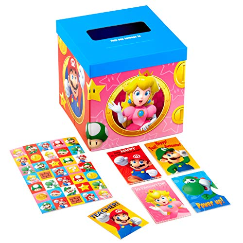 Hallmark Valentines Day Cards for Kids and Mailbox for Classroom Exchange, Super Mario Bros (1 Box, 32 Valentine Cards, 35 Stickers, 1 Teacher Card)