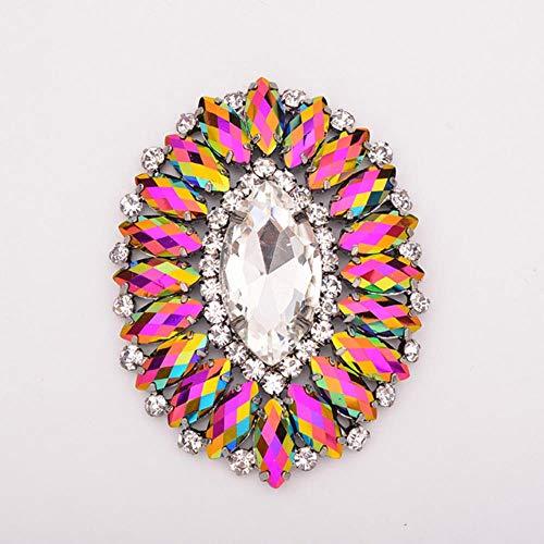 88 * 100 mm Szycie szklane kwiaty stras aplikacja wykończenie kryształ frędzle stras klamra do dekoracji naszyjnika, 54 x 70 mm BlackAB