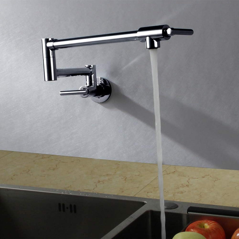 Arture Kitchen Sink Faucet Folding Telescopic Wall Kitchen Faucet Double Handle Single Cold Faucet Chrome Brass,Chrome